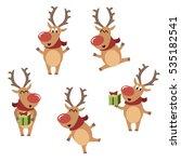 set of funny christmas rein... | Shutterstock .eps vector #535182541