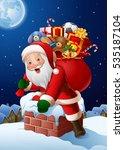 Cartoon Santa Claus Enters A...