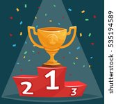 gold trophy prize cup on podium ... | Shutterstock .eps vector #535194589