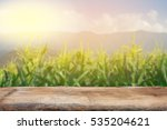 Wooden table with field with...