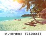 Coconut Palm Tree On The Beach...