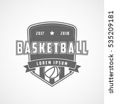 basketball emblem flat icon on... | Shutterstock .eps vector #535209181