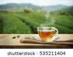 Tea Cup With Green Tea Leaf On...