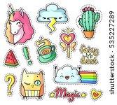cool stickers set in pop art... | Shutterstock .eps vector #535227289