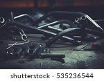 steel pipe and tools on a work... | Shutterstock . vector #535236544