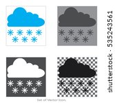 cloud with snowflake set icons...