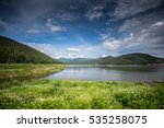 green nature with lake and blue ... | Shutterstock . vector #535258075