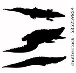 crocodiles silhouette set  ... | Shutterstock .eps vector #535259824