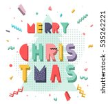 christmas card in memphis style.... | Shutterstock .eps vector #535262221