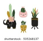 hand drawn  house plants.... | Shutterstock .eps vector #535268137