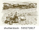 Tractor In Field. Hand Drawn...