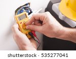 close up of electrician hands ... | Shutterstock . vector #535277041