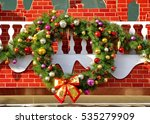 Small photo of Christmas wreath oh the wall