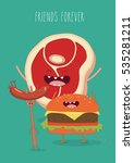 fast food poster. funny sausage ... | Shutterstock .eps vector #535281211