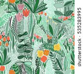 tropical seamless floral... | Shutterstock .eps vector #535283995