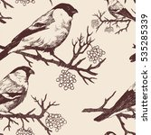 seamless bullfinch pattern.... | Shutterstock .eps vector #535285339