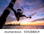 sea fishing at sunset outside...   Shutterstock . vector #535288819