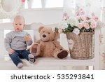 little boy with teddy bear... | Shutterstock . vector #535293841