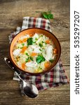 chicken soup with noodles and... | Shutterstock . vector #535297207
