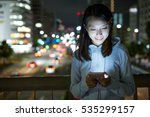 woman using mobile phone at...   Shutterstock . vector #535299157