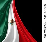 mexico  flag of silk with... | Shutterstock . vector #535301485