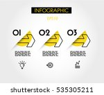yellow linear infographic outline arrows, outline concept | Shutterstock vector #535305211