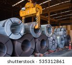steel coil handling inside...   Shutterstock . vector #535312861