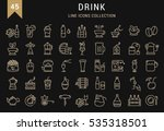 Set  line icons drinks and alcohol tea, beer, coffee, wine, water, milk and champagne in flat design with elements for mobile concepts and web. Collection modern infographic logo. Raster Version.