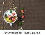 morning granola with yogurt... | Shutterstock . vector #535318765