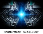 Small photo of International Space Station and star. Science background. Elements of this image furnished by NASA.