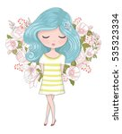 cute girl vector design... | Shutterstock .eps vector #535323334