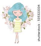 cute girl vector design... | Shutterstock .eps vector #535323334