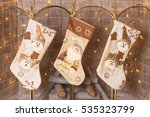 socks hanging over the... | Shutterstock . vector #535323799