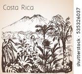 costa rica hand drawn landscape.... | Shutterstock .eps vector #535326037