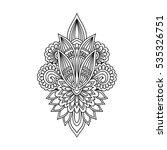 stylized henna tattoo flower... | Shutterstock .eps vector #535326751