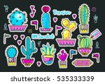 set fashion patches  brooches... | Shutterstock .eps vector #535333339