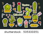 set fashion patches  brooches... | Shutterstock .eps vector #535333351