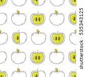 seamless pattern of apples on... | Shutterstock .eps vector #535343125
