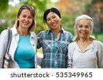 three mature ladies enjoying on ... | Shutterstock . vector #535349965