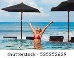 happy woman have fun in outdoor ... | Shutterstock . vector #535352629