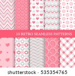 Ten different seamless patterns with hearts, stripes and dots. Pretty and delicate backgrounds. Endless texture for wallpaper, web page background, wrapping paper and etc. Retro style.
