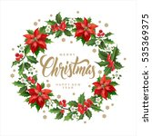 christmas postcard with  wreath ... | Shutterstock .eps vector #535369375