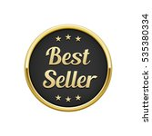 gold black best seller round... | Shutterstock .eps vector #535380334