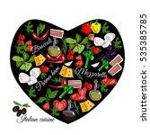 italian cuisine top view frame. ... | Shutterstock .eps vector #535385785