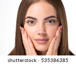 beautiful woman face closeup... | Shutterstock . vector #535386385