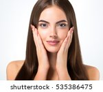 beautiful woman face closeup... | Shutterstock . vector #535386475