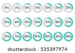 set of blue circle percentage... | Shutterstock .eps vector #535397974