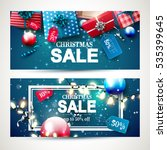 christmas sale headers with red ... | Shutterstock .eps vector #535399645