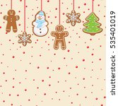 hanging gingerbread man  tree ... | Shutterstock .eps vector #535401019