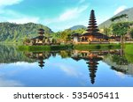 pura ulun danu temple on a lake ... | Shutterstock . vector #535405411